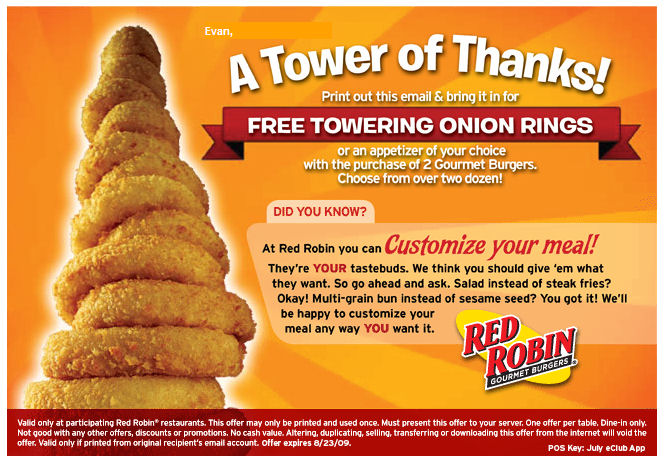 Red robin coupon code