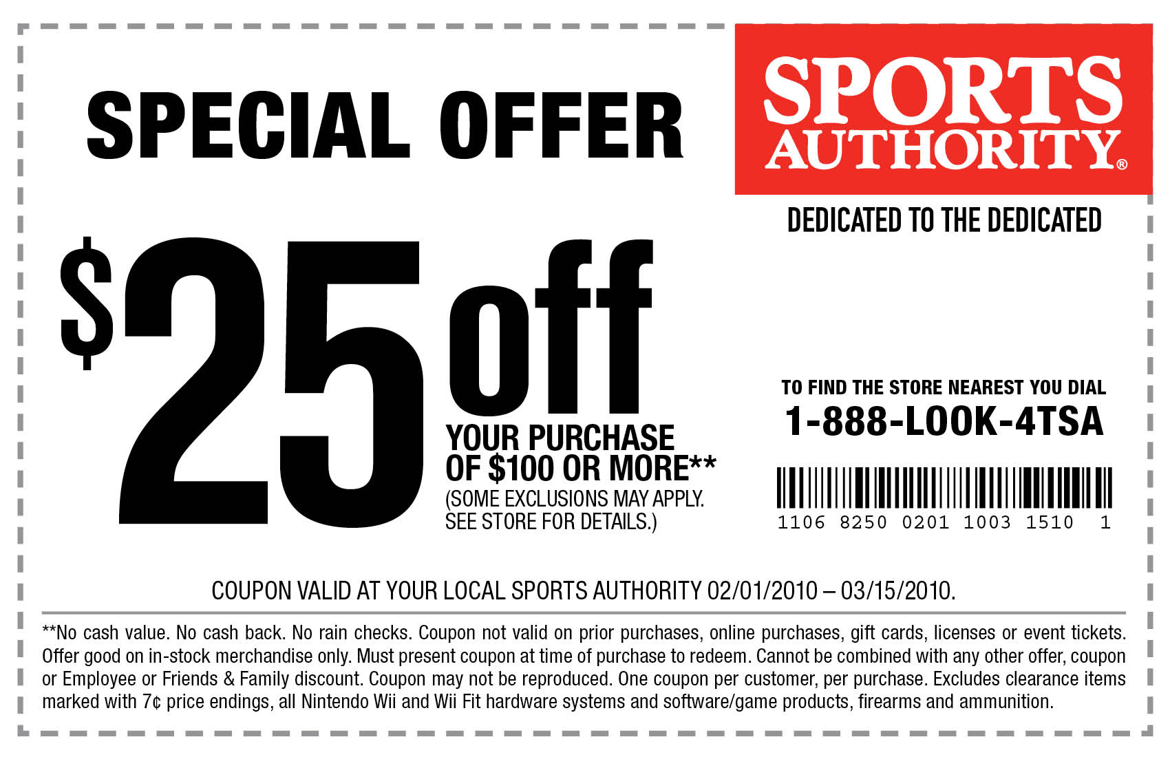 For Sports Authority we currently have 1 coupons and 1 deals. Our users can save with our coupons on average about $ Todays best offer is Take $20 Off w/ Discount Code. If you can't find a coupon or a deal for you product then sign up for alerts and you will get updates on every new coupon added for Sports Authority.