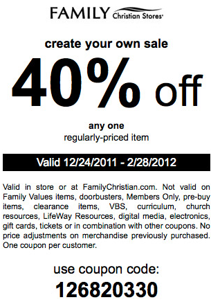 Christian Bookstore Coupons: LifeWay Christian & Family Christian