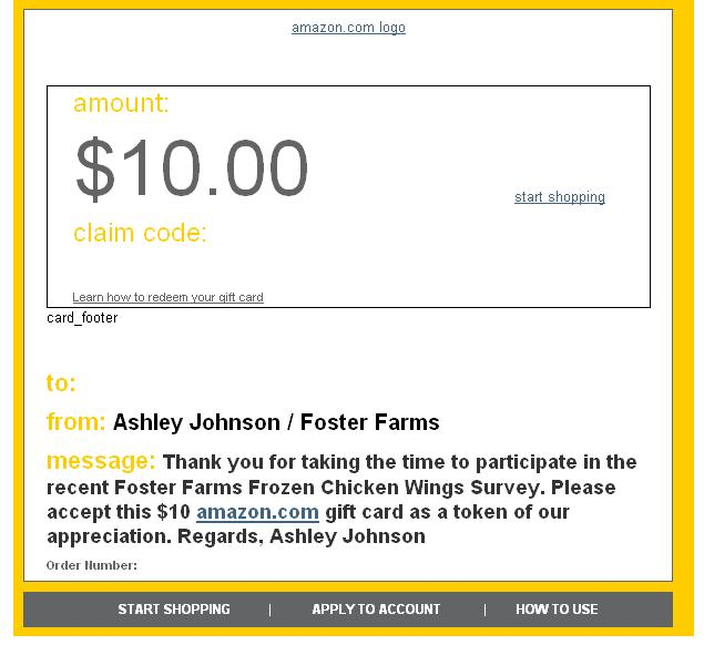 Amazon GC from Foster Farms