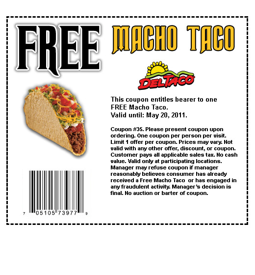 About Del Taco. Great deals are the special of the day with Del Taco online coupons. Find special offers, convenient gift cards, Del Taco hot sauce, beach gear and clothes/5(11).