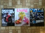 Motor Cyclist June magazine - Martha Stewart Living May magazine - Dirt Rider June magazine