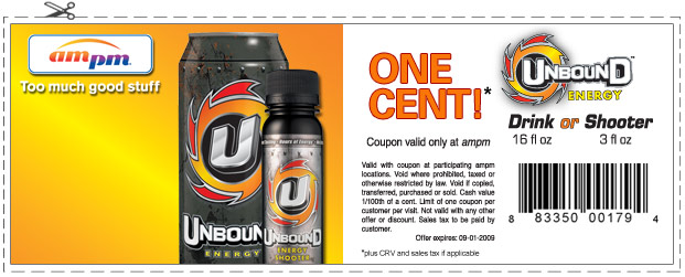 unbound energy drink or shooter for one cent at am pm. Black Bedroom Furniture Sets. Home Design Ideas