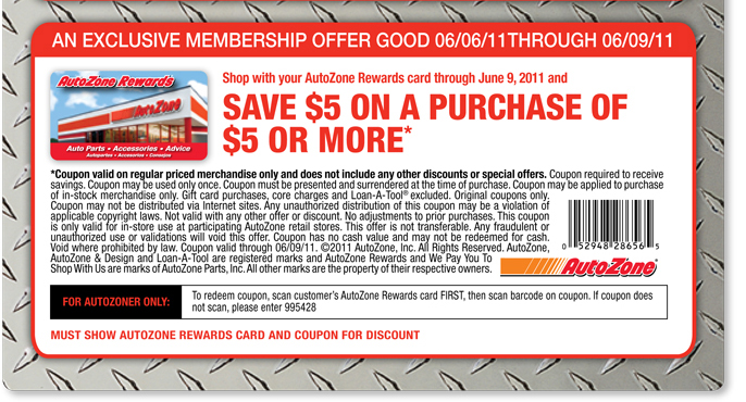 autozone printable coupon save 5 5 purchase at autozone with 20529