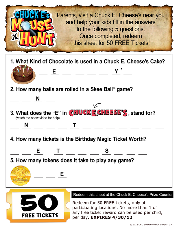 To get 40 FREE Chuck E. Cheese Tickets you have to score on each roll of Skee Ball to get the 40 tickets, but if you score a lower amount, you will still get FREE tickets which you can print out. This offer is still available just in case you missed this!