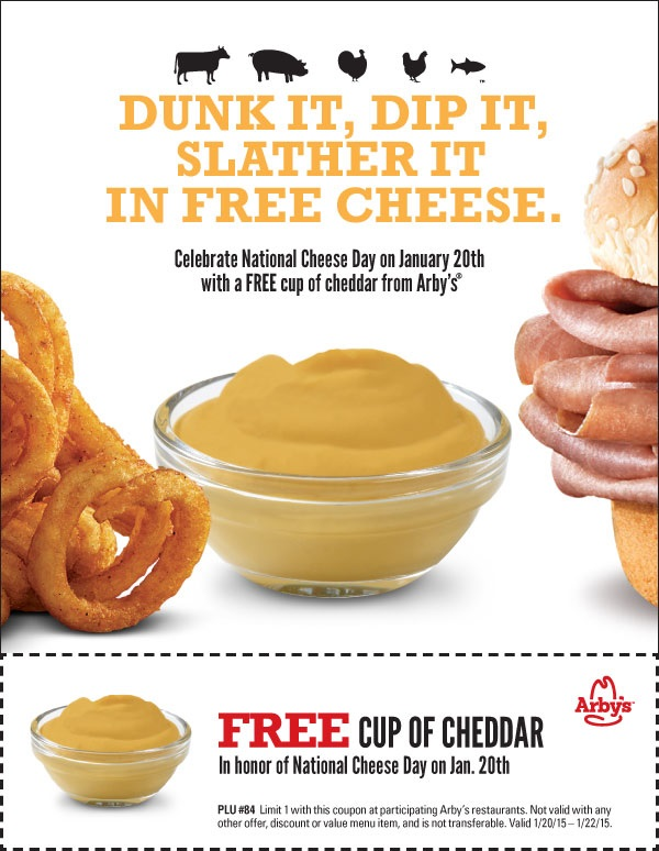 photo relating to Cheddars Coupons Printable referred to as Totally free Cup of Cheddar at Arbys: Coupon Legitimate 1/20-1/22 : freebies